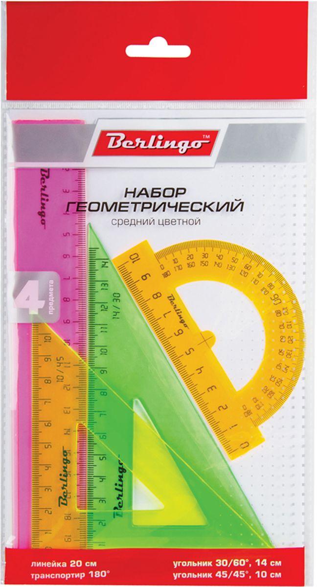 Berlingo Геометрический набор средний цвет прозрачный флуоресцентный 4 предметаRS_00404Геометрический набор Berlingo выполнен из прочного пластика. Набор включает в себя все, что необходимо школьнику: линейку 15 см, треугольник пластиковый 30°, 60°, 11 см, треугольник пластиковый 45°, 45°, 8 см, линейка-транспортир пластиковая 180°. Каждый чертежный инструмент имеет свои функциональные особенности, что делает работу с ними особенно удобной и легкой.