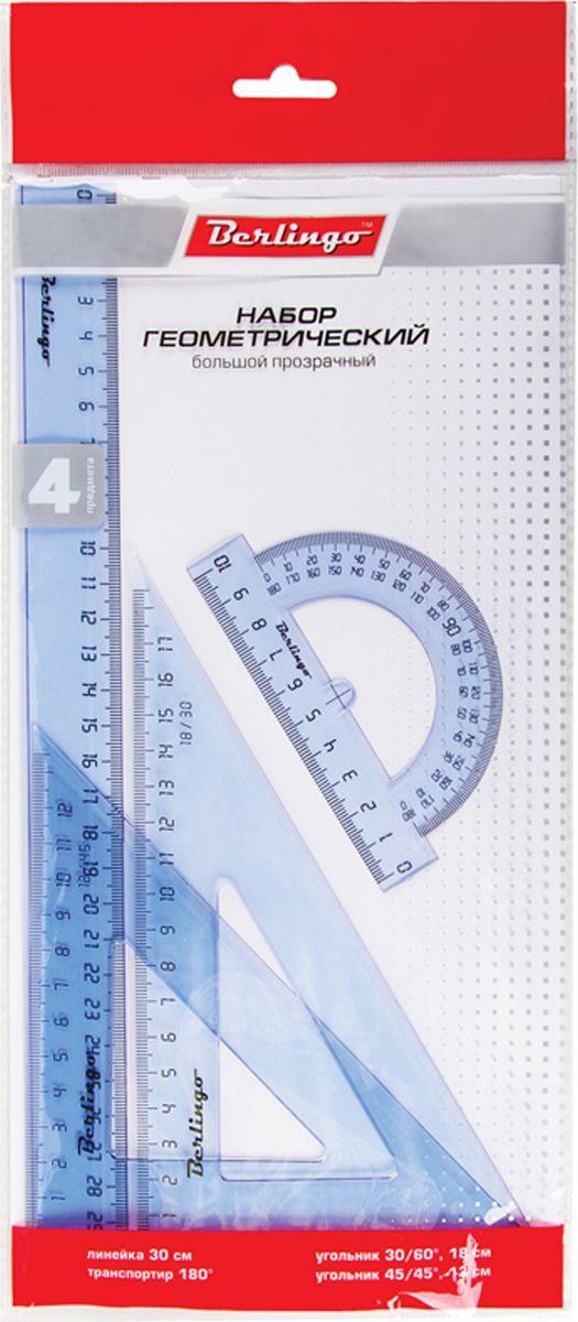 Berlingo Геометрический набор большой цвет прозрачный 4 предметаRS_00504Геометрический набор Berlingo выполнен из прочного пластика. Набор включает в себя все, что необходимо школьнику: линейка пластиковая 30 cм, треугольник пластиковый 30°, 60°, 18 см, треугольник пластиковый 45°, 45°, 13 см, линейка-транспортир пластиковая 180°. Каждый чертежный инструмент имеет свои функциональные особенности, что делает работу с ними особенно удобной и легкой.