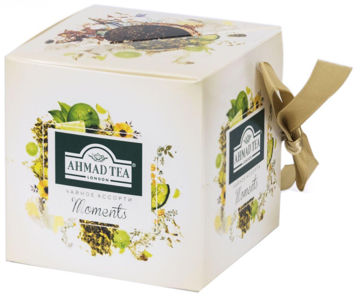 Ahmad Tea Moments набор листового чая, 60 гN070Набор Moments / Моментс, 2 чайных вкуса внутри. Лаймовый пирог, зеленый листовой чай 30 г. Ароматный купаж зеленого чая со вкусом лаймового пирога – обворожительная фантазия чайных сомелье на тему десертных композиций. Светлый настой золотистого цвета обладает освежающим ароматом садовых трав, традиционной сладостью китайского зеленого чая и сливочно-лаймовым послевкусием. Индийский чай Ассам, черный листовой чай 30 г. Великая река Брахмапутра, протекающая в восточных предгорьях Гималаев, создает уникальный микроклимат, позволяющий выращивать крепкий, чуть вяжущий, пряный чай. Это чудо природы не требует лишних украшений — ореховые ноты и легкий дымный оттенок станут наградой тем, кто до конца прочувствует этот сложный букет вкусов.