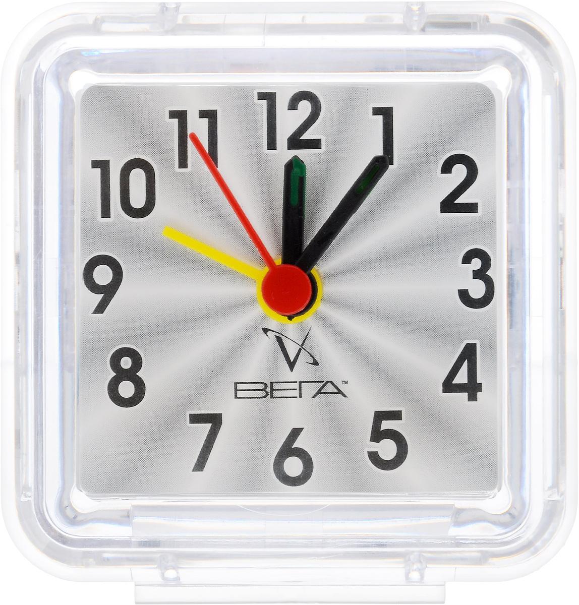 Часы-будильник Вега КлассикаБ1-014Настольные кварцевые часы Вега Классика изготовлены из прозрачного пластика. Часы имеют три стрелки - часовую, минутную и стрелку завода. Такие часы красиво и оригинально украсят интерьер дома или рабочий стол в офисе. Также часы могут стать уникальным, полезным подарком для родственников, коллег, знакомых и близких. Часы работают от батарейки типа АА (в комплект не входит). Имеется инструкция по эксплуатации на русском языке.