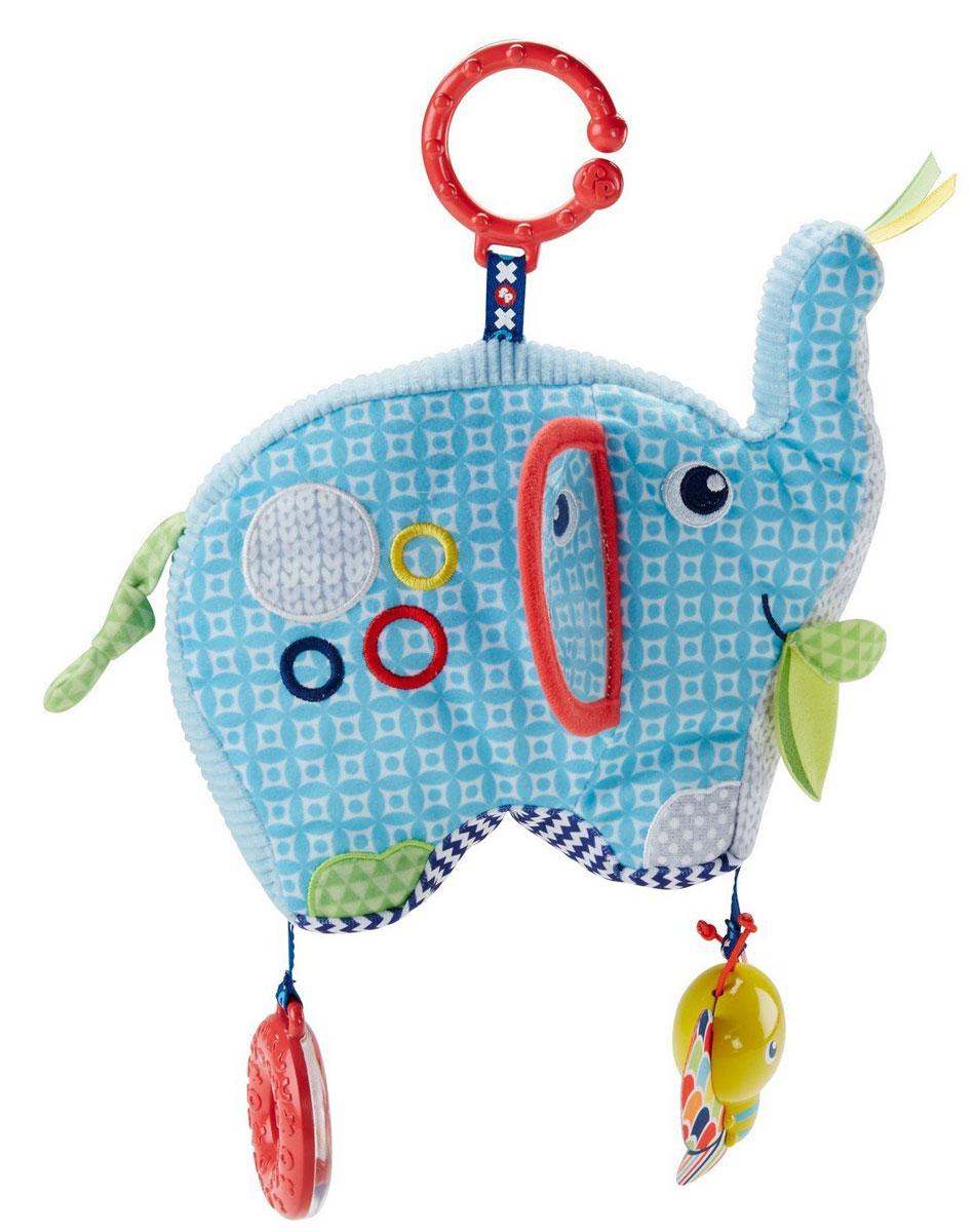 Fisher Price Развивающая игрушка СлонDYF88Развивающая игрушка Fisher Price Слон - первый друг детства вашего малыша. Большой мягкий слоник выполнен из тканей разных текстур: вязаных, плюшевых, вельветовых и шуршащих. За его ухом прячется зеркальце, а еще он издает забавные звуки, когда малыш трясет его. К ножкам слона прикреплены погремушка и яркая бабочка. Прикрепите слоника за специальное пластиковое кольцо к сумке или коляске и отправляйтесь на прогулку! Играйте и развивайтесь. Различные текстуры, яркие цвета и узоры, а также отражение малыша в зеркале, помогают развивать органы чувств. Исследуя различные элементы игрушки, малыш развивает моторику. Мягкий и дружелюбный слон поможет ребенку чувствовать себя защищенным и счастливым.