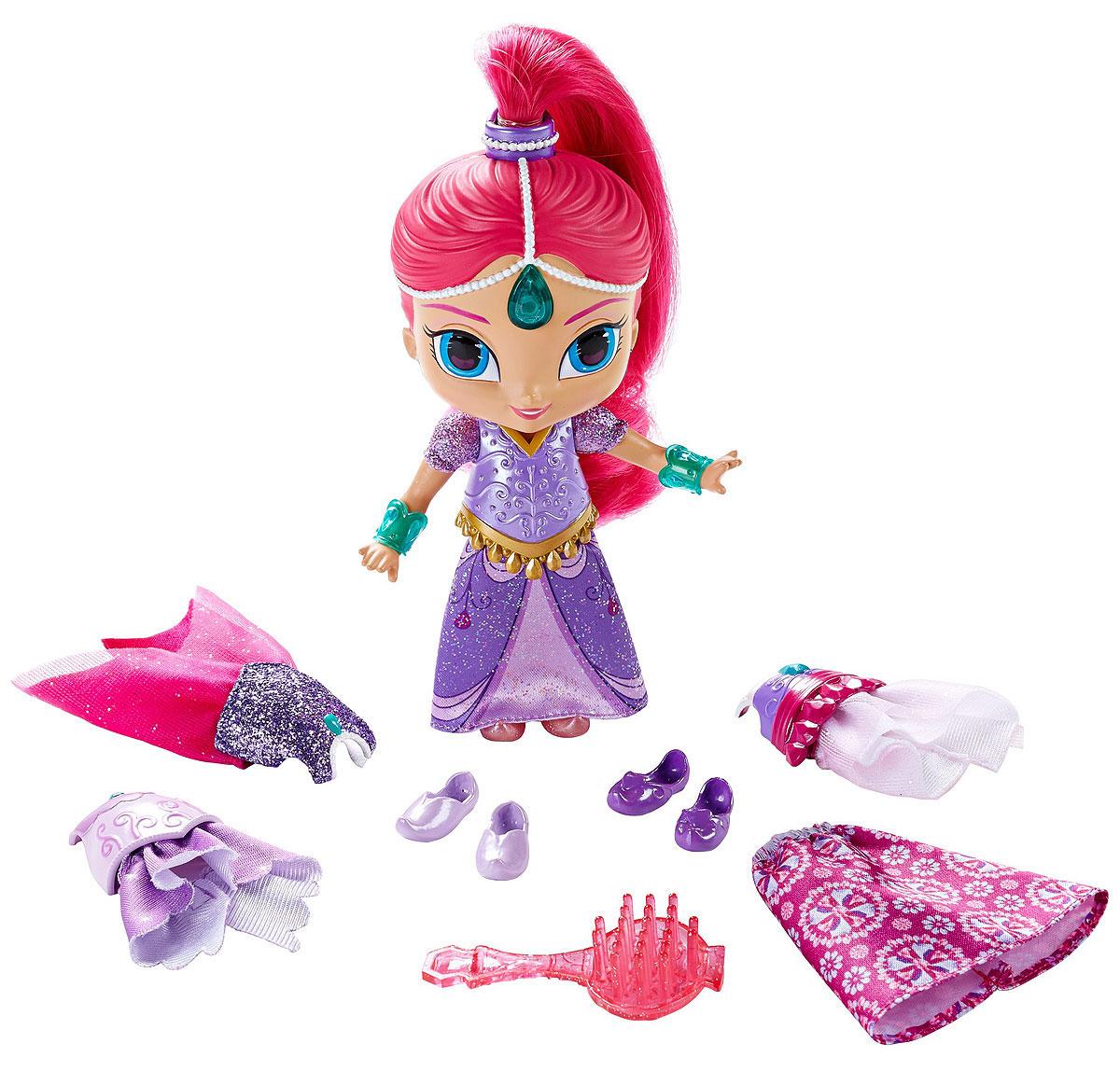 Shimmer & Shine Кукла Magic Dress ShimmerDGL78_DGL80Шиммер - это очаровательный голубоглазый джинн с розовыми волосами. Шиммер всегда веселая и жизнерадостная, любит розовый цвет и природу. Ничто не может поколебать ее оптимизм. Есть питомец, забавная обезьянка по кличке Тала. В набор Shimmer & Shine Magic Dress Shimmer входит все, что нужно для костюмированного приключения! Эти потрясающие волшебные наряды можно надеть на мини-куклу одним движением руки. Маленькая джинна наряжается быстрее, чем люди!