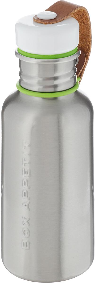 "Фляга Black+Blum ""Box Appetite"", цвет: стальной, зеленый, белый, 350 мл"