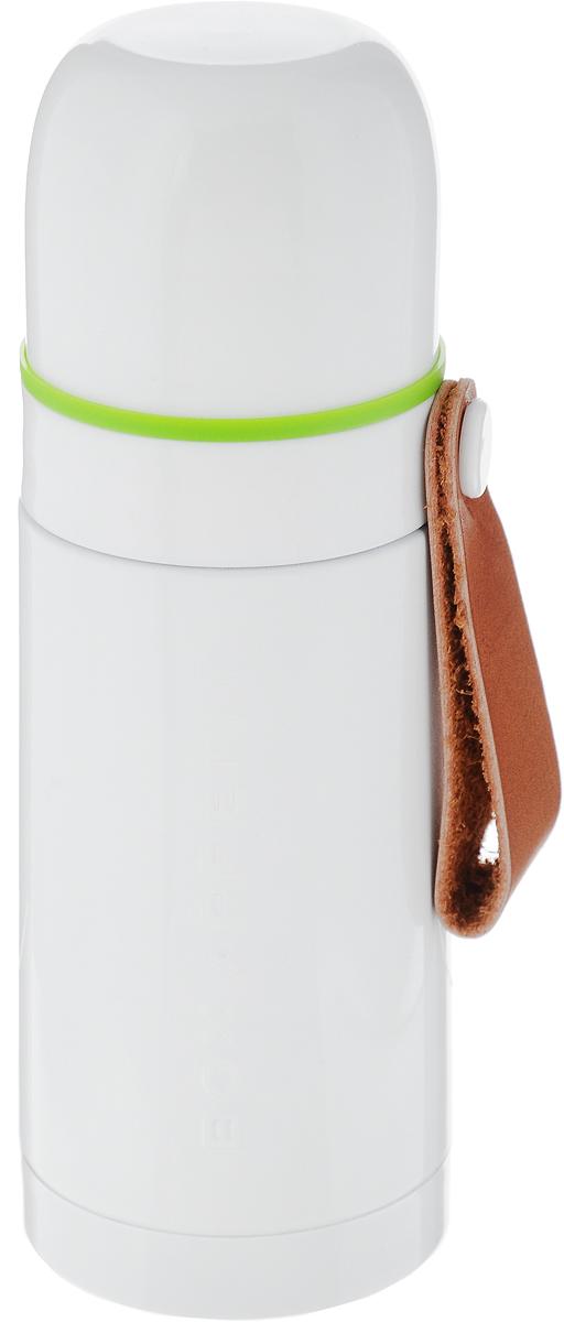Термос Black+Blum Box Appetite, цвет: белый, зеленый, 350 млBAM-TF-S002Термос Black+Blum Box Appetite изготовлен из высококачественной нержавеющей стали. Двухслойный корпус сохраняет температуру на срок до 24 часов. Термос предназначен для горячих и холодных напитков. Вакуумный закручивающийся клапан и удобная кнопка-дозатор предохраняют от проливаний. Крышку можно использовать как чашку. Оснащен ручкой из искусственной кожи. Стильный термос понравится абсолютно всем и впишется в любой интерьер кухни. Диаметр горлышка: 4,5 см. Диаметр основания термоса: 6,8 см. Высота термоса: 19,5 см.