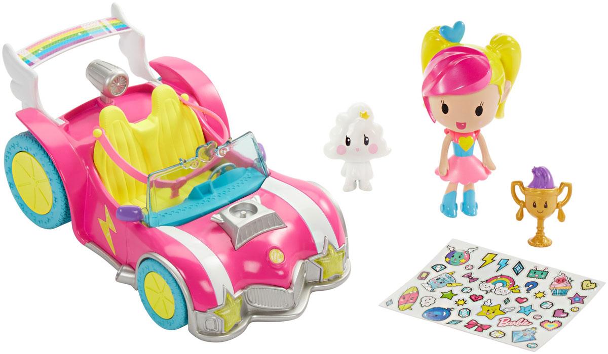 Barbie Игровой набор с мини-куклой Video Game HeroDTW18Игровой набор с мини-куклой Barbie Video Game Hero посвящен новому мультфильму Barbie и виртуальный мир. Мини-кукла одета в трико с сердечком и готова к приключениям. Украсьте автомобиль куклы молниями, сердечками и звездочками (набор наклеек входит в комплект). Играйте с двухмерными персонажами-вырезками и найдите трофей. Он дает право открыть уникальные дополнения для видеоигры, если использовать его в приложении Barbie Life. Соберите всех кукол линейки Barbie и виртуальный мир и создайте свою собственную игру.