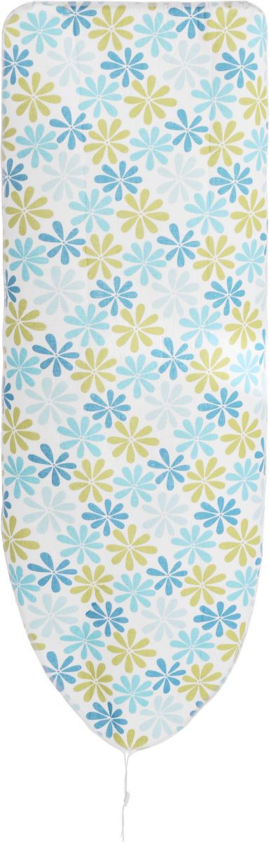 Чехол для гладильной доски Paterra Цветы, с поролоном, 146 х 55 см402-480_голубой, зеленыйЧехол Paterra Цветы, выполненный из хлопка с подкладкой из поролона (полиуретана), продлит срок службы вашей гладильной доски. Чехол снабжен стягивающим шнуром, при помощи которого вы легко отрегулируете оптимальное натяжение и зафиксируете его на рабочей поверхности гладильной доски. Чехол оформлен оригинальным рисунком, что оживит внешний вид вашей гладильной доски. Размер чехла: 146 х 55 см. Максимальный размер доски: 140 х 50 см. Толщина подкладки: 4 мм.