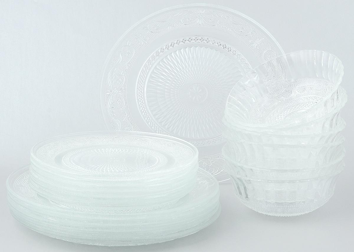 Набор столовой посуды Wellberg Verano, 18 предметов50450WBНабор столовой посуды Wellberg Verano - это не только полезный подарок для родных и близких, а также великолепное дизайнерское решение для вашей кухни или столовой. Набор состоит из шести обеденных тарелок, шести десертных тарелок и шести салатников. Внешняя сторона изделий оформлена оригинальным рельефным узором. Можно мыть в посудомоечной машине и использовать в микроволновой печи. Диаметр обеденной тарелки (по верхнему краю): 25 см. Высота обеденной тарелки: 2 см. Диаметр десертной тарелки (по верхнему краю): 19,7 см. Высота десертной тарелки: 1,7 см. Диаметр салатника (по верхнему краю): 15 см. Высота салатника: 6 см.