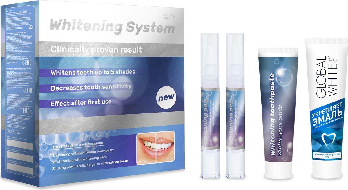 Global White Премиум система для отбеливания зубов: отбеливающий гель во флаконе карандаше 15мл. 2 шт., ретрактор, отбеливающая зубная паста 30мл., реминерализирующий гель 40мл.125Полноценный комплекс для отбеливания зубов в домашних условиях. Состав: Пероксид водорода 6%- расщепляет пигментные пятна внутри эмали. Нитрат калия – снижает чувствительность.