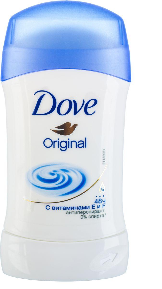 Dove Антиперспирант карандаш Оригинал 40 мл21133768Антиперсипрант Dove Оригинал обеспечивает защиту от пота на 48 часов и на 1/4 состоит из особенного увлажняющего крема, который способствует восстановлению кожи после бритья, делая ее более гладкой и нежной.