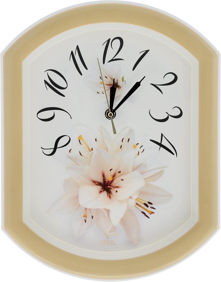 Часы настенные Вега Лилия, 34,5 х 27 смП2-14/7-24Настенные кварцевые часы Вега Лилия, изготовленные из пластика, прекрасно впишутся в интерьер вашего дома. Круглые часы имеют три стрелки: часовую, минутную и секундную, циферблат защищен прозрачным стеклом. Часы работают от 1 батарейки типа АА напряжением 1,5 В (не входит в комплект). Прилагается инструкция по эксплуатации.