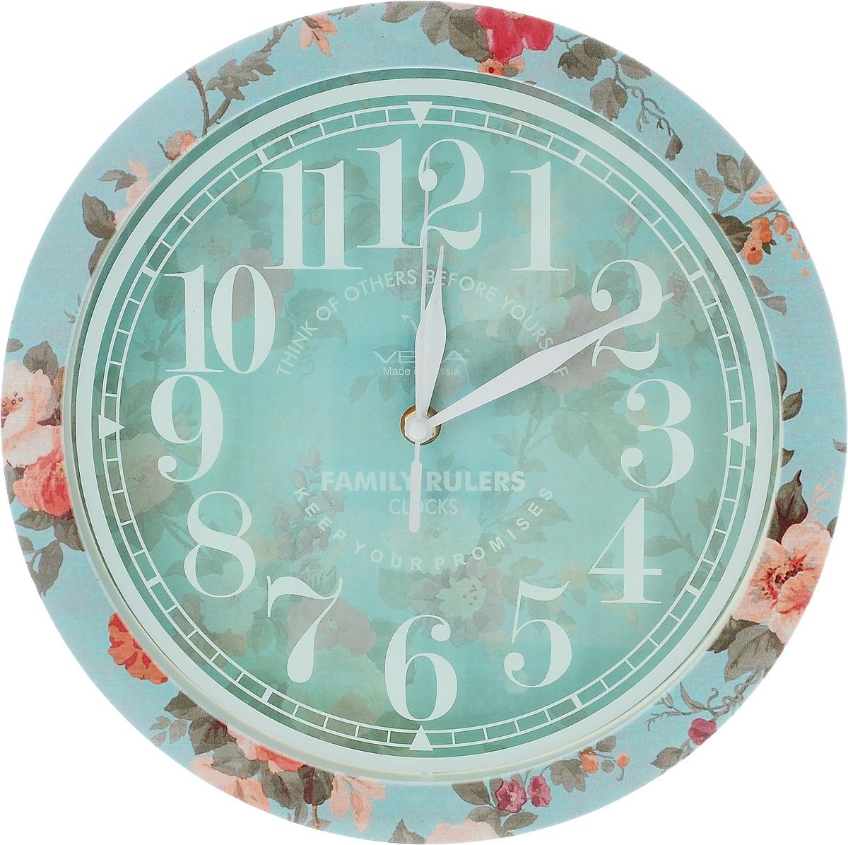 Часы настенные Вега Прованс, диаметр 28,5 смП1-239/7-239Настенные кварцевые часы Вега Прованс, изготовленные из пластика, прекрасно впишутся в интерьер вашего дома. Часы имеют три стрелки: часовую, минутную и секундную, циферблат защищен прозрачным стеклом. Часы работают от 1 батарейки типа АА напряжением 1,5 В (не входит в комплект). Прилагается инструкция по эксплуатации.