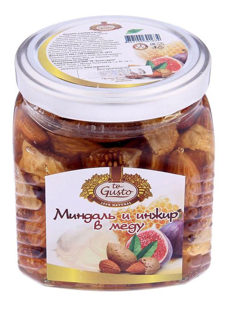 te Gusto Миндаль и инжир в меду, 300 г4657155301634Миндаль и инжир в меду te Gusto - это вкусный и полезный продукт, который понравится и детям и взрослым. Такой продукт хорошо употреблять в период вирусных заболеваний, так как орехи, инжир и мед оказывают благотворное действие на иммунную систему человека. В них содержится множество витаминов и микроэлементов, которые способствуют хорошему пищеварению, нормальной работе сердца и мозга. Миндаль и инжир в меду te Gusto - это вкусное угощение, которое станет великолепным дополнением к любому чаепитию.