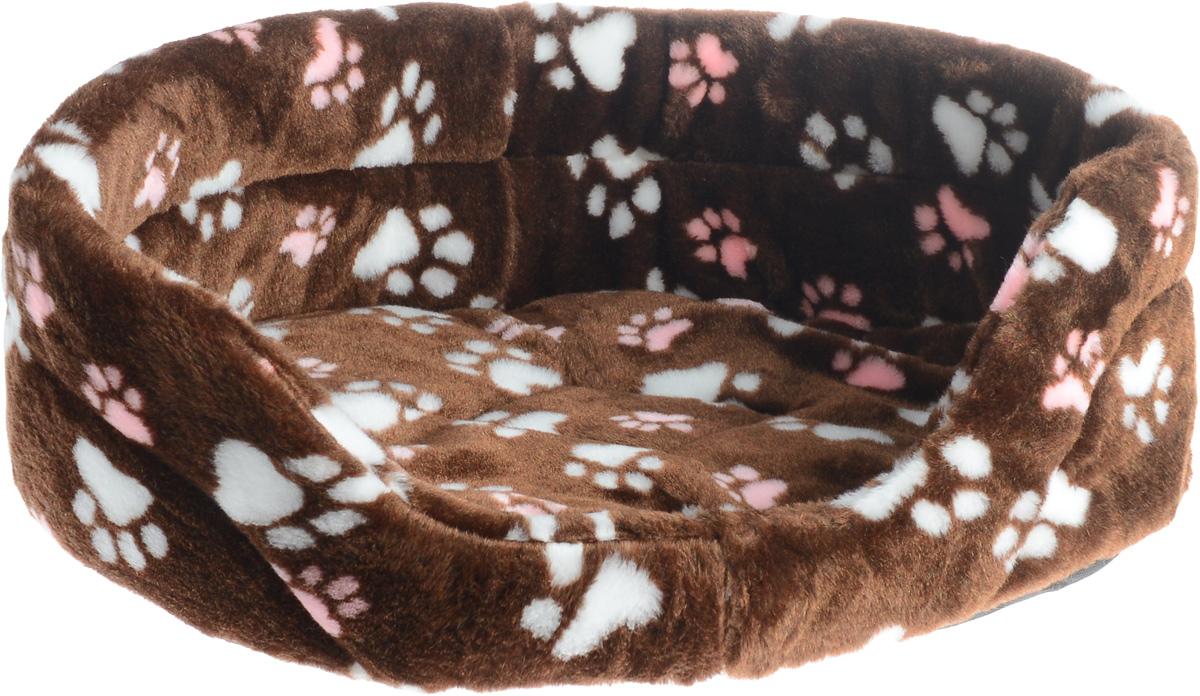 Лежак для животных Elite Valley, цвет: темно-коричневый, розовый, белый, 55 х 40 х 18,5 см. Л-2/4Л-2/4_коричневый, лапки розовые и белыеЛежак Elite Valley обязательно понравится вашему питомцу. Изделие выполнено из искусственного меха, а наполнитель - из поролона. Такой материал не теряет своей формы долгое время. Внутри имеется мягкая съемная подстилка. Высокие борта обеспечат вашему любимцу уют, ему сразу же захочется забраться на лежак, там он сможет отдохнуть и подремать в свое удовольствие. Мягкий лежак станет излюбленным местом вашего питомца, подарит ему спокойный и комфортный сон, а также убережет вашу мебель от многочисленной шерсти.