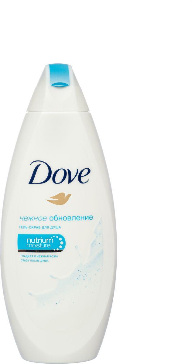Dove Гель-скраб Нежное обновление 250 мл21145395Гель-скраб Dove Нежное обновление обеспечивает мягкое очищение, отшелушивание и питание кожи. Гель делает кожу более гладкой и нежной сразу после душа, содержит только самые бережные очищающие компоненты, а в дополнение ко всему содержит нежные отшелушивающие частицы для обновления вашей кожи.