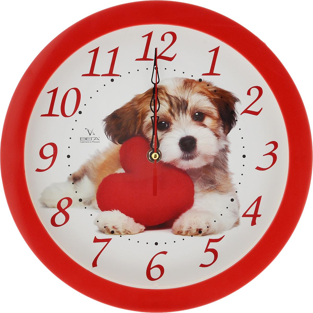 Часы настенные Вега Собака, диаметр 28,5 смП1-1/7-217Настенные кварцевые часы Вега Собака, изготовленные из пластика, прекрасно впишутся в интерьер вашего дома. Круглые часы имеют три стрелки: часовую, минутную и секундную, циферблат защищен прозрачным стеклом. Часы работают от 1 батарейки типа АА напряжением 1,5 В (не входит в комплект). Прилагается инструкция по эксплуатации. Диаметр часов: 28,5 см.