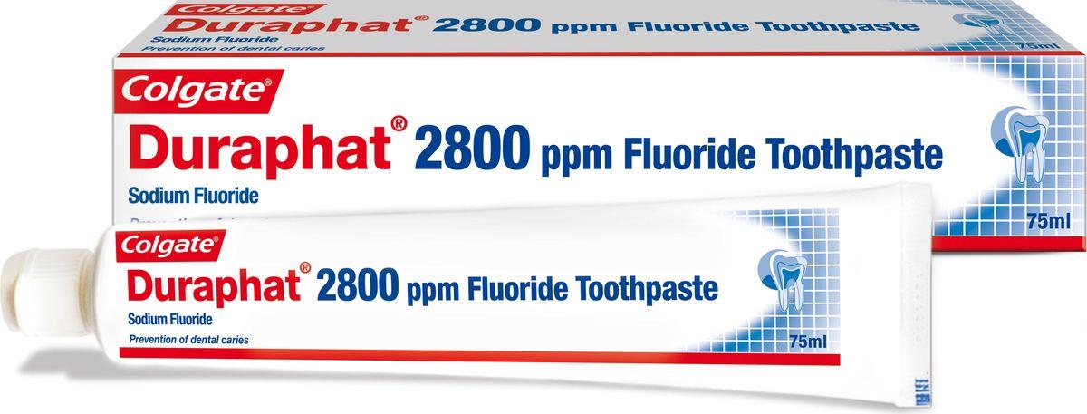 Colgate Зубная паста Duraphat 2800ppm 75мл0401533810Зубная паста 75 мл -1шт Для эффективной защиты от кариеса у взрослых и детей старше 10 лет, с высоким риском развития кариеса,линически доказано: на 20% эффективнее предотвращает развитие кариеса зубов, по сравнению с обычной зубной пастой, содержащей 1100 ppm ф