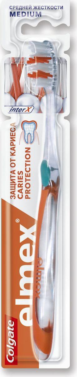Elmex Зубная щетка Защита от кариеса средняя жесткость04040560Зубная щетка -1шт Удлиненные перекрещивающиеся щетинки эффективно удаляют налет, проникая в межзубные промежутки Закругленные кончики щетинок обеспечивают бережное очищение Удобная эргономичная форма ручки