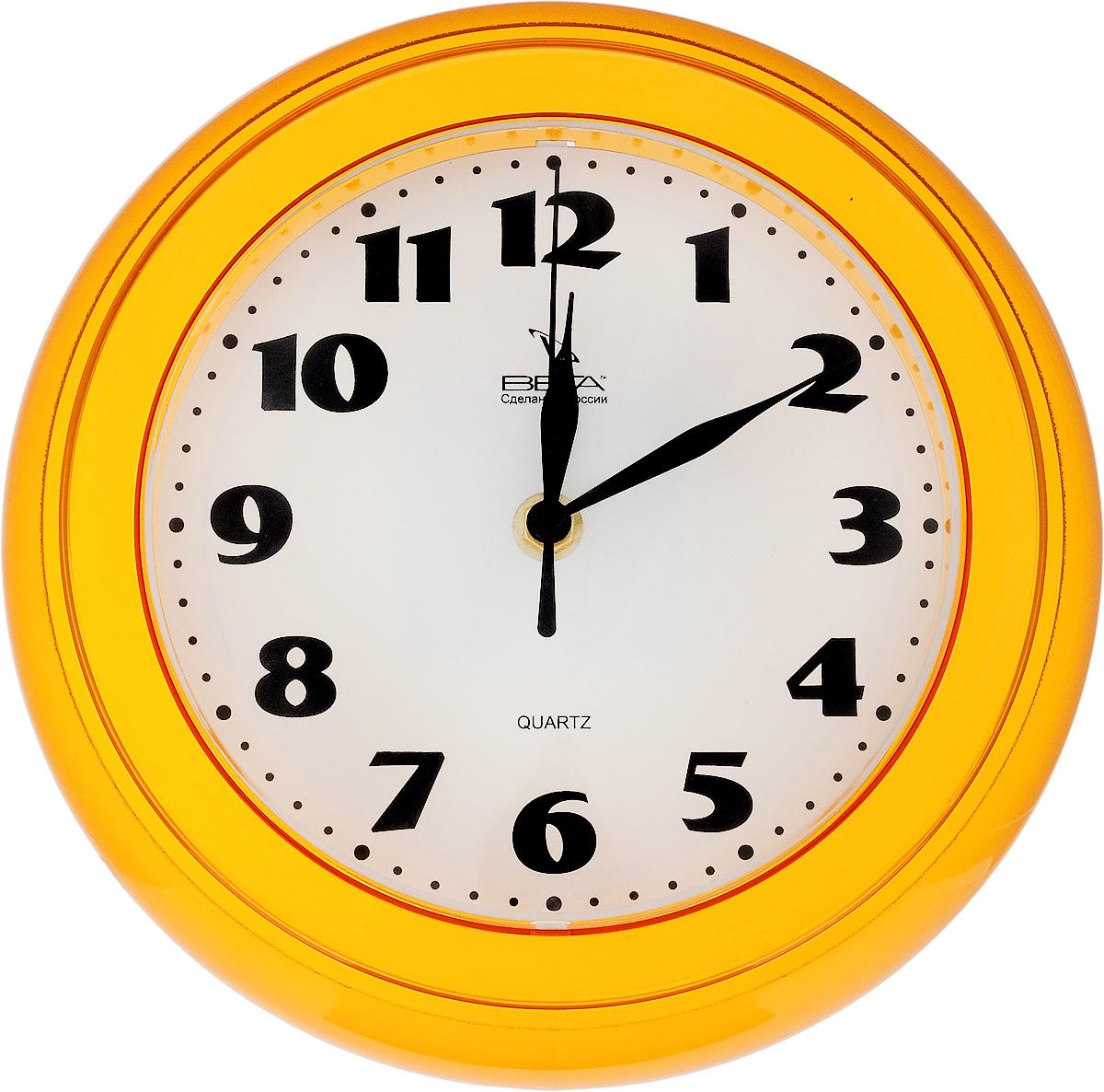 Часы настенные Вега Классика, цвет: желтый, диаметр 22 смП6-17-45Настенные кварцевые часы Вега Классика, изготовленные из пластика, прекрасно впишутся в интерьер вашего дома. Круглые часы имеют три стрелки: часовую, минутную и секундную, циферблат защищен прозрачным стеклом. Часы работают от 1 батарейки типа АА напряжением 1,5 В (не входит в комплект). Диаметр часов: 22 см.