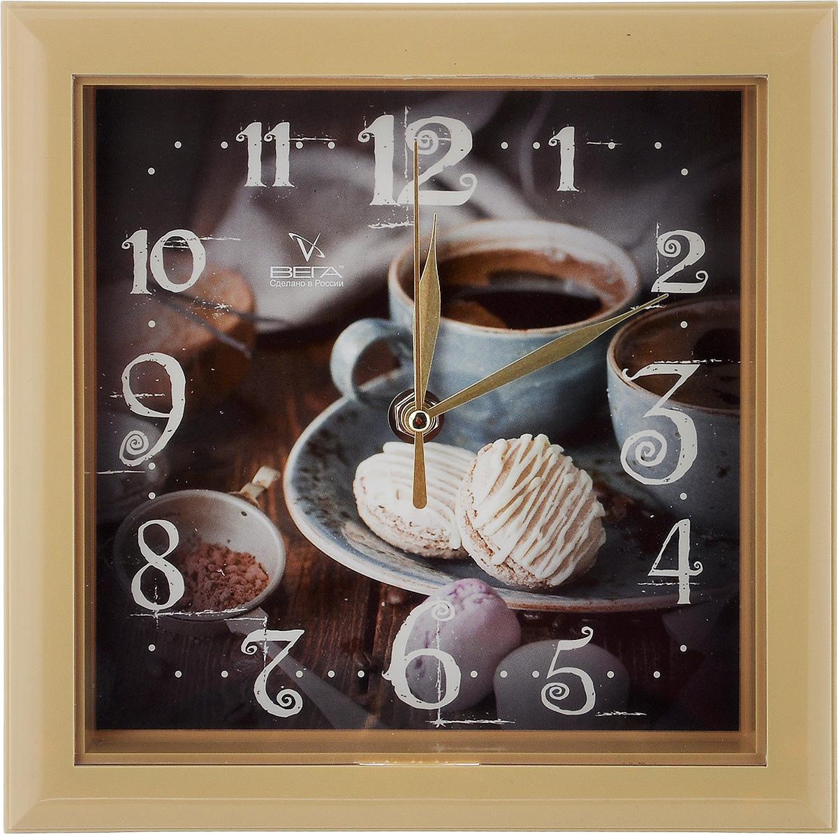 Часы настенные Вега Чашка кофе, 20,6 х 20,6 смП3-14-131Настенные кварцевые часы Вега Чашка кофе, изготовленные из пластика, прекрасно впишутся в интерьер вашего дома. Часы имеют три стрелки: часовую, минутную и секундную, циферблат защищен прозрачным пластиком. Часы работают от 1 батарейки типа АА напряжением 1,5 В (не входит в комплект). Прилагается инструкция по эксплуатации.