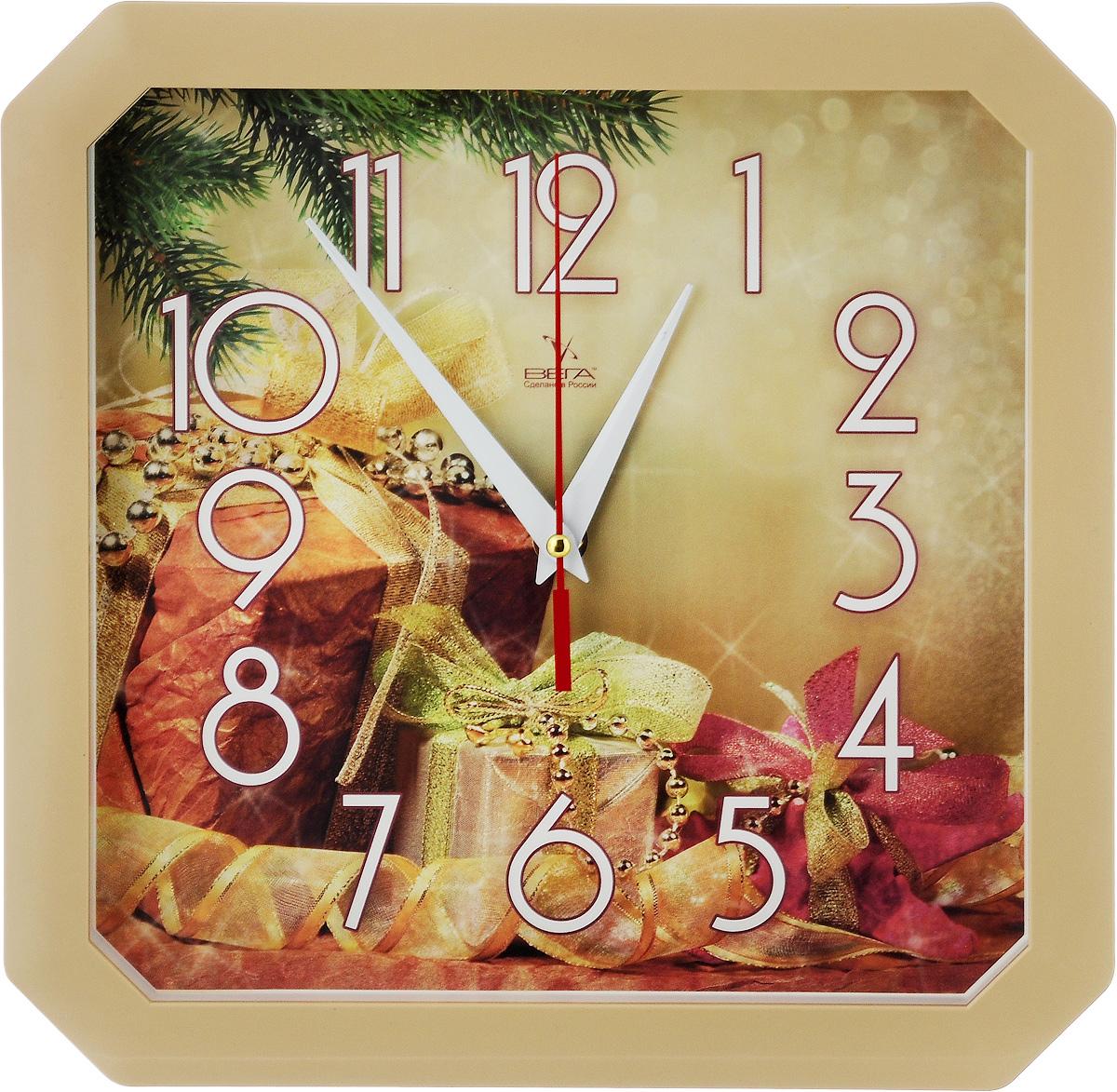 Часы настенные Вега Новогодние подарки, 27,5 х 27,5 х 3,5 смП4-14/7-86Настенные кварцевые часы Вега Новогодние подарки, изготовленные из пластика, прекрасно впишутся в интерьер вашего дома. Часы имеют три стрелки: часовую, минутную и секундную, циферблат защищен прозрачным стеклом. Часы работают от 1 батарейки типа АА напряжением 1,5 В (не входит в комплект). Размер часов: 27,5 х 27,5 х 3,5 см.