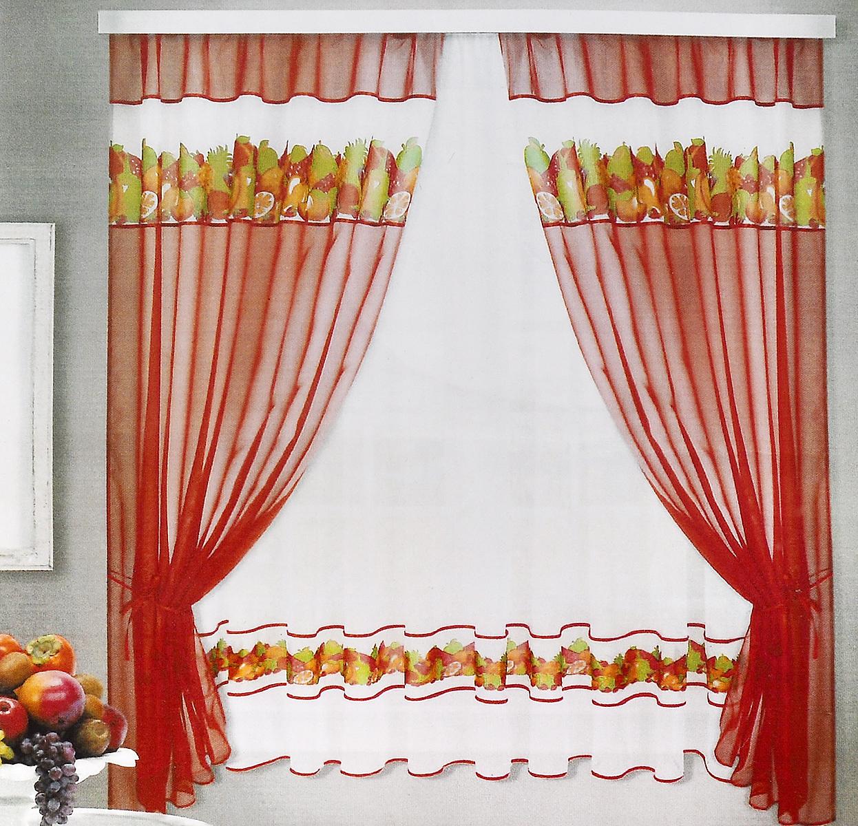 Комплект штор для кухни ТД Текстиль Фруктовая поляна, на ленте, цвет: бордовый, белый, 5 предметов86157_бордовыйКомплект штор для кухни ТД Текстиль Фруктовая поляна, выполненный из вуалевого полотна (100% полиэстер), великолепно украсит любое окно. Комплект состоит из тюля, двух штор и двух подхватов. Оригинальный дизайн и яркая цветовая гамма привлекут к себе внимание и органично впишутся в интерьер помещения. Комплект крепится на карниз при помощи ленты, которая поможет красиво и равномерно задрапировать верх. Комплект будет долгое время радовать вас и вашу семью!