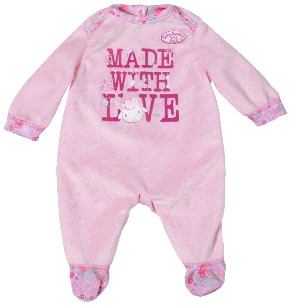 Baby Annabell Комбинезон для куклы цвет розовый 794-548794-548Комбинезон для куклы подходит ко всем куклам серии Baby Annabell высотой 46 см. Очаровательный плюшевый комбинезончик с длинными рукавами украшен аппликацией с изображением овечки. Сзади застегивается на липучку, благодаря чему очень легко снимается и надевается. Одежда выполнена из высококачественного текстиля, гипоаллергенного и полностью безопасного для здоровья ребенка. Все девочки очень любят переодевать своих кукол, создавая новые образы, а с наборами одежды Baby Annabell образы можно менять хоть каждый день.
