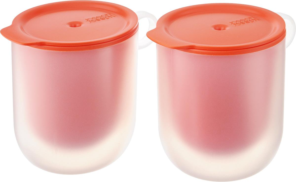 Набор кружек для микроволновой печи Joseph Joseph M-Cuisine, с крышками, с двойными стенками, цвет: оранжевый, 360 мл, 4 предмета45012Набор Joseph Joseph M-Cuisine состоит из двух кружек с крышками, которые идеально подходят для разогрева напитков, жидких блюд, а также для приготовления десертов в микроволновой печи. Благодаря двойным стенкам внешняя поверхность всегда остается прохладной, что позволяет спокойно доставать разогретую кружку из печи голыми руками. Крышка с отверстием для выхода пара защищает содержимое от протекания и помогает сохранить чистоту. А стильный дизайн позволяет подавать разогретые блюда прямо к столу. Предметы предназначены для использования в микроволновой печи. Можно мыть в посудомоечной машине. Диаметр кружек (по верхнему краю): 8,5 см. Высота кружек (с учетом крышки): 11,5 см.