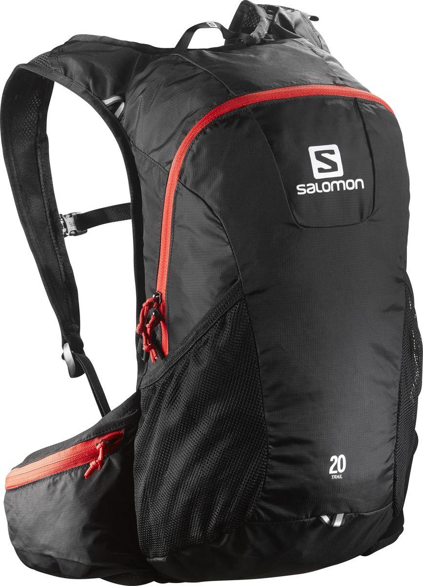 Рюкзак спортивный Salomon Trail 20, цвет: черный, 20 л. L37998100L37998100Рюкзак Salomon Trail 20 выполнен из высококачественного полиамида и полиэстера. Рюкзак имеет одно вместительное отделение и закрывается на застежку-молнию. Рюкзак оснащен мягкими удобными лямками, длина которых регулируется с помощью пряжек. Изделие дополнено удобной ручкой для переноски или подвешивания. На внешней стороне расположены два открытых кармана-сетки. Полюбившийся бегунам рюкзак Trail 20 получил новый обтекаемый силуэт. Сбалансированное распределение нагрузки, простота в использовании, быстрый доступ в основное отделение, удобные набедренные карманы. Идеально подходит для забегов на средние дистанции и однодневных походов по любым маршрутам.