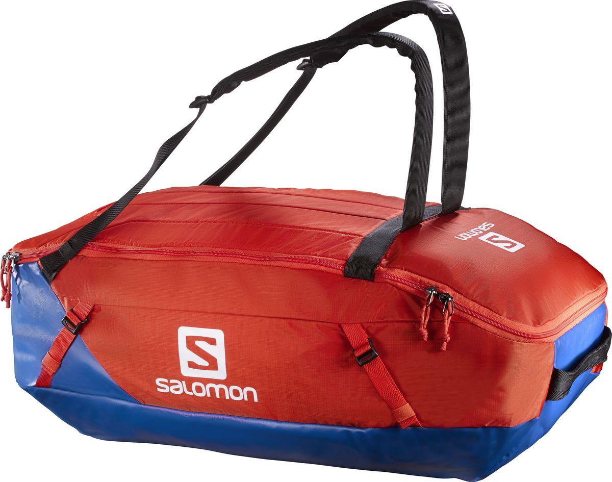 Сумка спортивная Salomon Prolog 70, цвет: синий, оранжевый, 70 л.L38238900Сумка Salomon Prolog 70 выполнена из качественного полиэстера и оформлена принтом с изображением логотипа бренда. Сумка оснащена удобными ручками и закрывается на застежку-молнию. Большая сумка для путешествий с прочным непромокаемым дном переживет падение на любую поверхность. Удобна в переноске благодаря съемным плечевым лямкам и мягкой спинке, имеет отделения для грязной или влажной одежды. Идеальный выбор для любителей экстремальных путешествий.