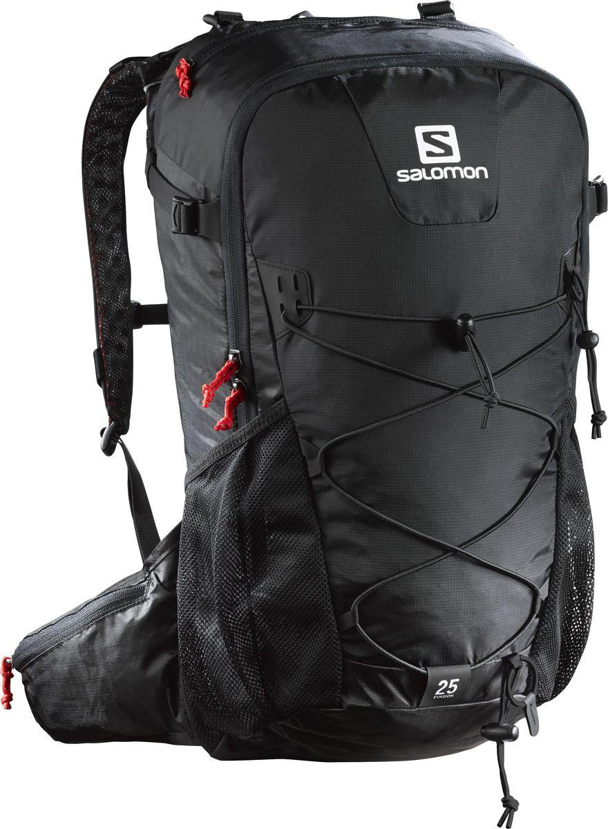 Рюкзак спортивный Salomon Vasion 25, цвет: черный, 25 л. L38240800L38240800Рюкзак Salomon Vasion 25 выполнен из высококачественного полиамида. Рюкзак имеет два вместительных отделения на застежках-молниях. Рюкзак оснащен мягкими удобными лямками, длина которых регулируется с помощью пряжек. На внешней стороне расположены два открытых кармана-сетки. Устойчивый и комфортный рюкзак Vasion 25 имеет фиксаторы для палок и другого снаряжения, необходимого во время однодневного похода.