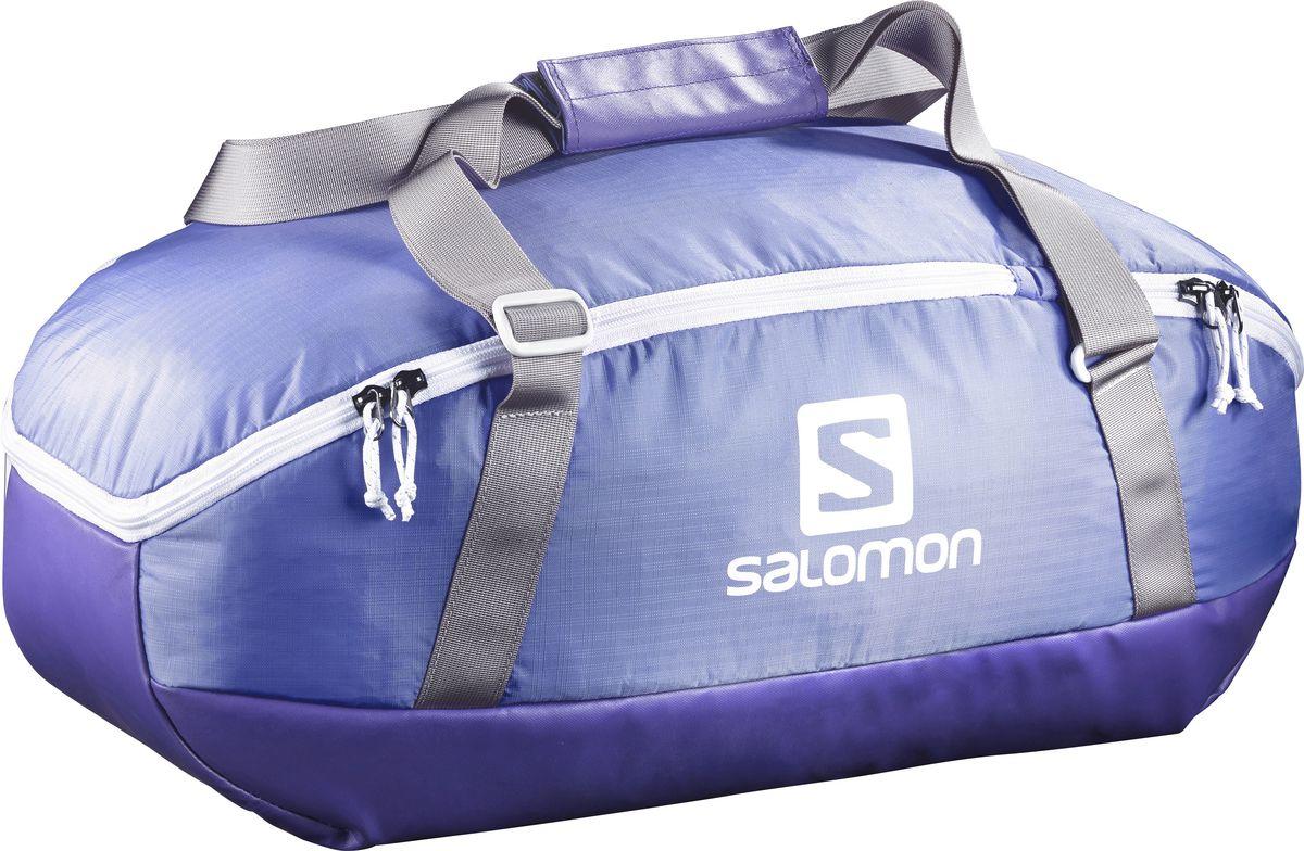 Сумка спортивная Salomon Prolog 40, цвет: сиреневый, 40 лL39280400Сумка Salomon Prolog 40 выполнена из качественного полиэстера и оформлена принтом с изображением логотипа бренда. Сумка оснащена удобными ручками и закрывается на застежку-молнию. Внутри расположено вместительное отделение, которое содержит небольшой вшитый карман на молнии для мелочей. Небольшая сумка Prolog Bag удобна для похода в спортивный зал. Прочное непромокаемое дно надежно защитит вещи на любой поверхности.
