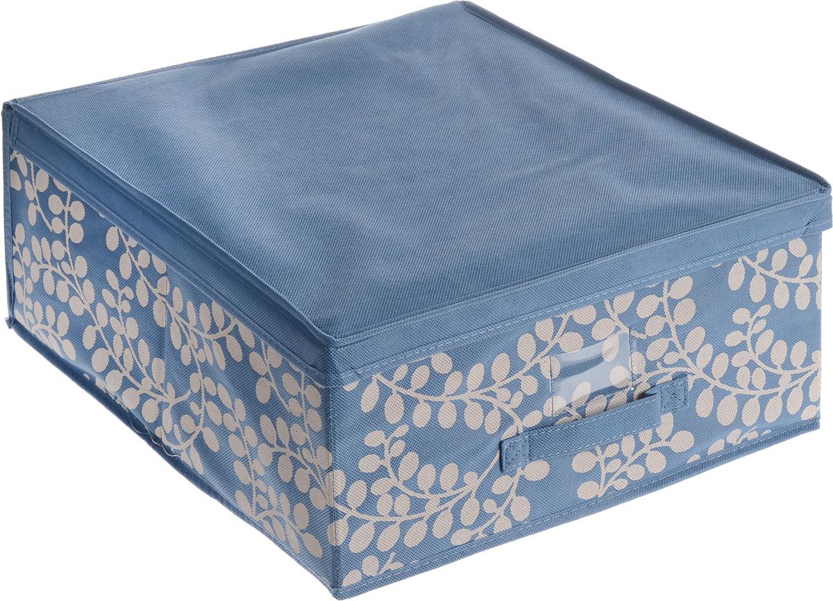 Чехол-коробка для хранения вещей Voila Флораль, цвет: синий, светло-серый, 45 х 45 х 20 смCOVLSCTF02_синий, серыйЧехол-коробка Voila Флораль, выполненный из полипропилена и нетканого полотна, предназначен для хранения вещей. Он защитит вещи от повреждений, пыли, влаги и загрязнений во время хранения и транспортировки. Чехол-коробка идеально подходит для хранения детских вещей и игрушек. Жесткий каркас обеспечивает устойчивость конструкции. В прозрачном кармашке на передней стенке чехла можно поместить бумажную этикетку с указанием содержимого.
