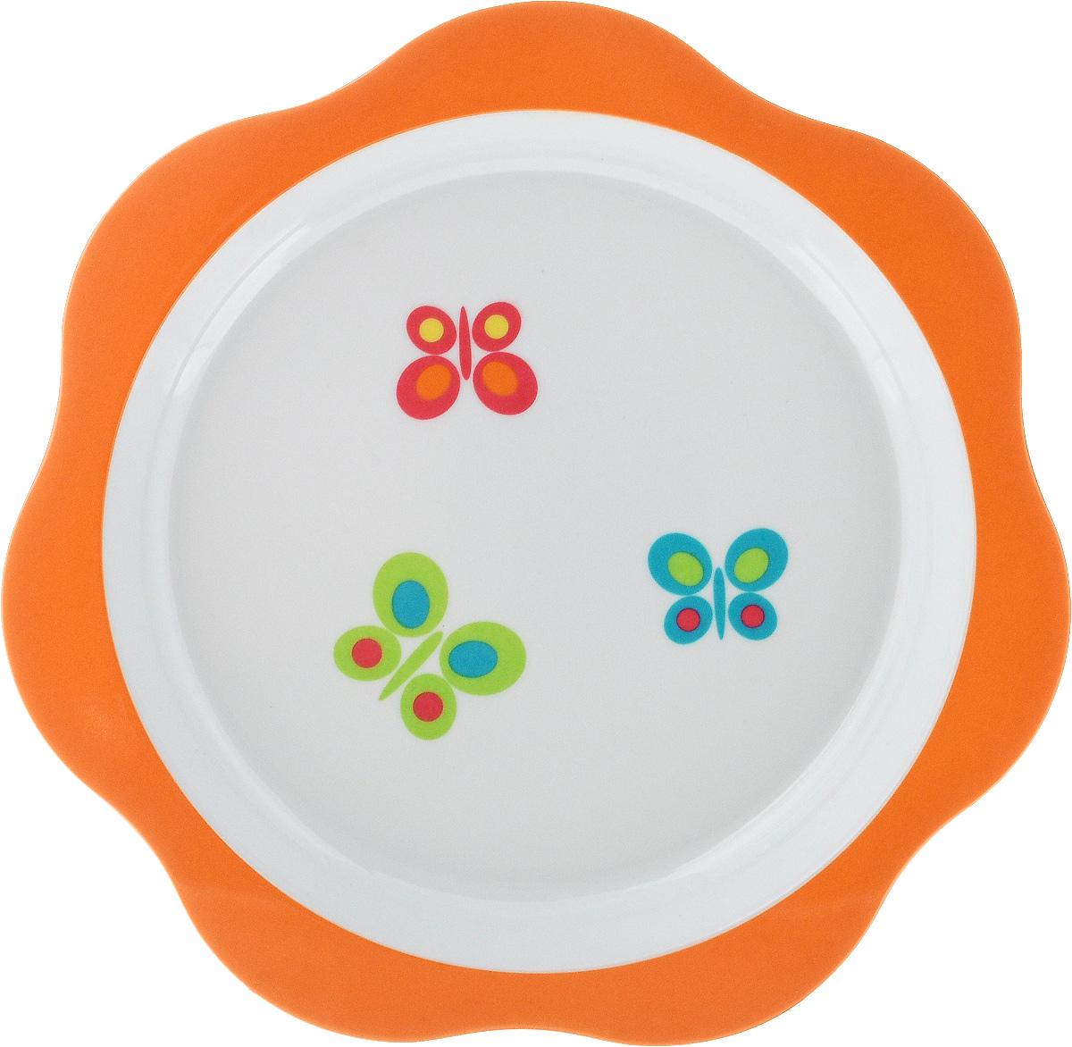 Тарелка детская Tescoma Bambini. Бабочки, цвет: оранжевый, белый, диаметр 22 см668012_оранжевыйДетская тарелка Tescoma Bambini. Бабочки изготовлена из безопасного пластика. Тарелочка, оформленная веселой картинкой забавных бабочек, понравится и малышу, и родителям! Ребенок будет с удовольствием учиться кушать самостоятельно. Тарелочка подходит для горячей и холодной пищи. Можно использовать в посудомоечной машине. Нельзя использовать в микроволновой печи. Внешний диаметр тарелки: 22 см. Внутренний диаметр тарелки: 17,7 см.