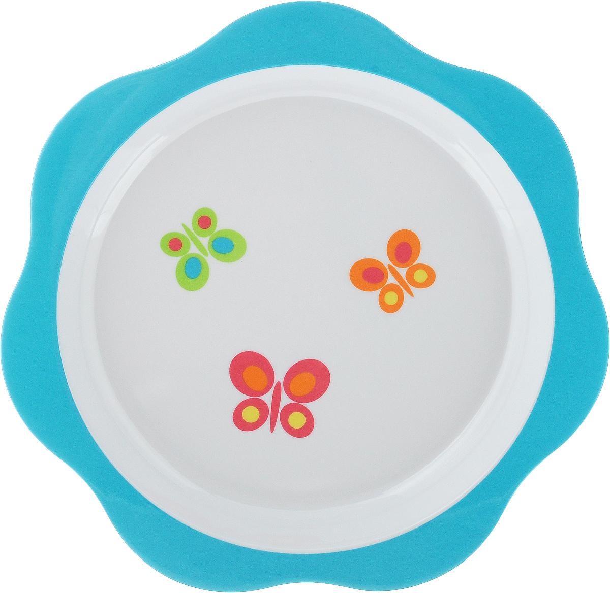 Тарелка детская Tescoma Bambini. Бабочки, цвет: голубой, белый, диаметр 22 см668012_голубойДетская тарелка Tescoma Bambini. Бабочки изготовлена из безопасного пластика. Тарелочка, оформленная веселой картинкой забавных бабочек, понравится и малышу, и родителям! Ребенок будет с удовольствием учиться кушать самостоятельно. Тарелочка подходит для горячей и холодной пищи. Можно использовать в посудомоечной машине. Нельзя использовать в микроволновой печи. Внешний диаметр тарелки: 22 см. Внутренний диаметр тарелки: 17,7 см.