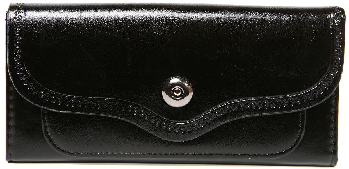 Кошелек женский Mitya Veselkov, цвет: черный. K-BLA9K-BLA9Женский кошелек от модного бренда Mitya Veselkov изготовлен из натуральной кожи. Купюры вмещаются в полную длину. Закрывается кошелек при помощи клапана на кнопку. Внутри расположено три отделения для купюр, кармашки для пластиковых карт и визиток, одно отделение для мелочи. Такой кошелек стильно дополнит ваш образ и станет незаменимым аксессуаром.