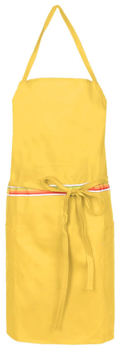 Фартук кухонный Tescoma Presto Tone, цвет: желтый. 639762639762_желтыйКухонный фартук Presto Tone изготовлен из 100% хлопка. Регулируемый шейный ремешок поможет подогнать фартук по росту. Удлиненный пояс можно завязать сзади или обернуть вокруг талии. Фартук имеет два накладных кармана для различных кухонных аксессуаров, а также съемный карман, куда можно положить телефон или другие мелкие предметы. Размер фартука: 73 х 67 см.