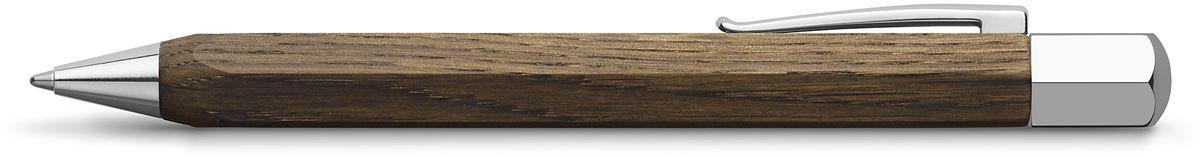 Faber-Castell Ручка шариковая Ondoro Smoaked Oak B147508Шариковая ручка высшего качества корпус изготовлен из дымчатого дуба оба конца из хромированного шлифованного металла упругий клип поворотный механизм twist объемный черный стержень М индивидуальная подарочная упаковка