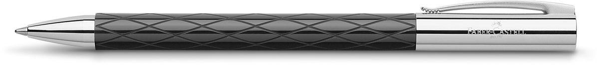 Faber-Castell Ручка шариковая Ambition Rhombus M148900Шариковая ручка высшего качества черный корпус изготовлен из редкой смолы с гравированным дизайном оба конца из хромированного шлифованного металла упругий клип поворотный механизм twist объемный черный стержень М индивидуальная подарочная упаковка