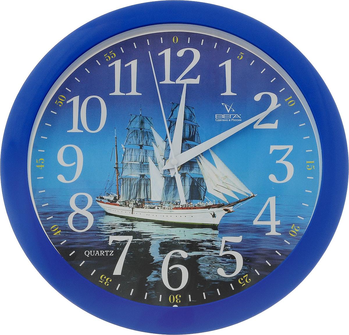 Часы настенные Вега Корабль, диаметр 28,5 смП1-10/7-39Настенные кварцевые часы Вега Корабль, изготовленные из пластика, прекрасно впишутся в интерьер вашего дома. Циферблат, оформленных изображением корабля, имеет отметки, арабские цифры и три стрелки - часовую, минутную и секундную. Защищен циферблат прозрачным пластиком. Часы работают от 1 батарейки типа АА с напряжением 1,5 В (не входит в комплект). Диаметр часов: 28,5 см.