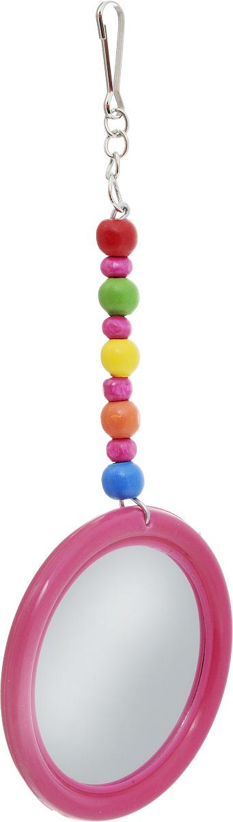 Игрушка для птиц Zoobaloo Зеркало Африка, цвет: розовый, 17 х 7 см572_розовыйПредставляем вам оригинальную игрушку для экзотических и маленьких птиц! Изготовлена из пластика с небольшим зеркалом, обрамленным красной каймой, со специальной подвеской из ярких бусинок.