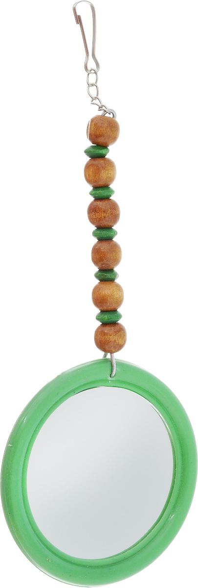 Игрушка для птиц Zoobaloo Зеркало Африка, цвет: зеленый, 17 х 7 см572_зеленыйПредставляем вам оригинальную игрушку для экзотических и маленьких птиц! Изготовлена из пластика с небольшим зеркалом, обрамленным красной каймой, со специальной подвеской из ярких бусинок.