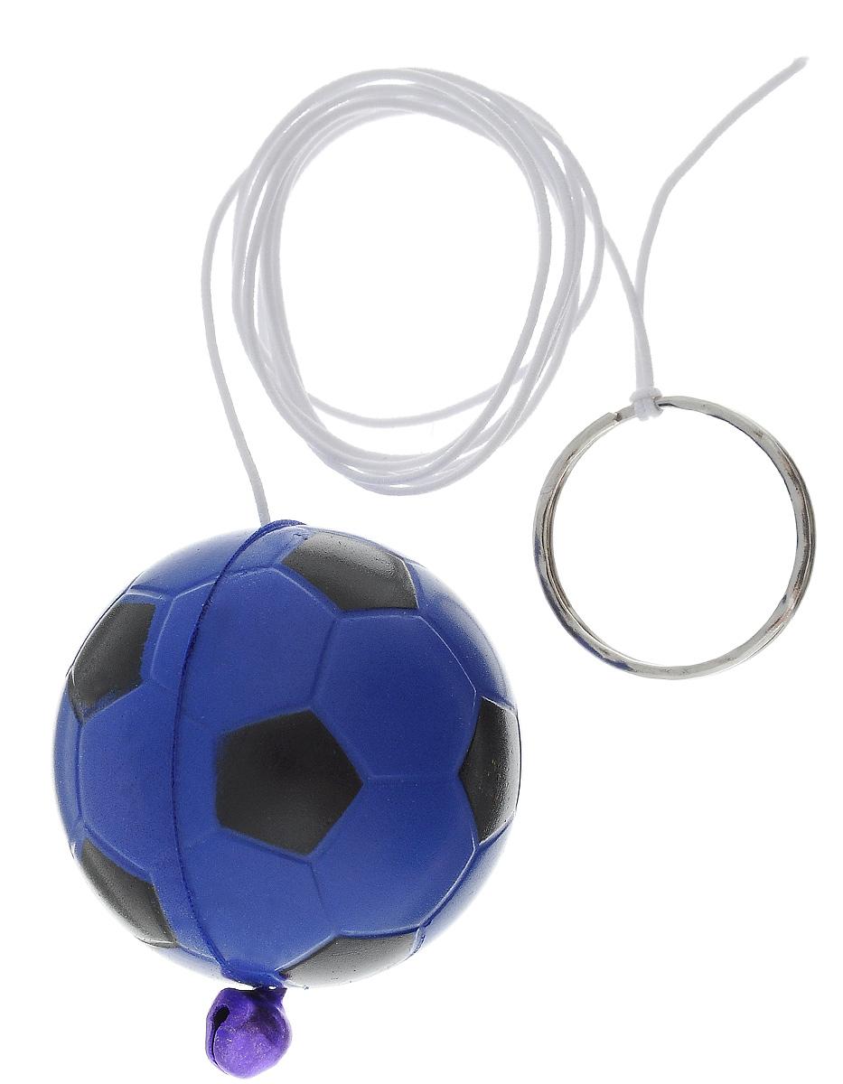 Игрушка для кошек Zoobaloo Футбольный мяч, цвет: синий, черный, 1 м122_синийИгрушка для кошек Zoobaloo Футбольный мяч, выполненная в форме мягкого мячика из полимера, дополнена эластичной резинкой с кольцом для пальцев и колокольчиком для привлечения внимания. Благодаря губчатой структуре мяча его можно царапать и грызть. Такая игрушка порадует вашего любимца, а вам доставит массу приятных эмоций, ведь наблюдать за игрой всегда интересно и приятно. Диаметр мячика: 4 см.