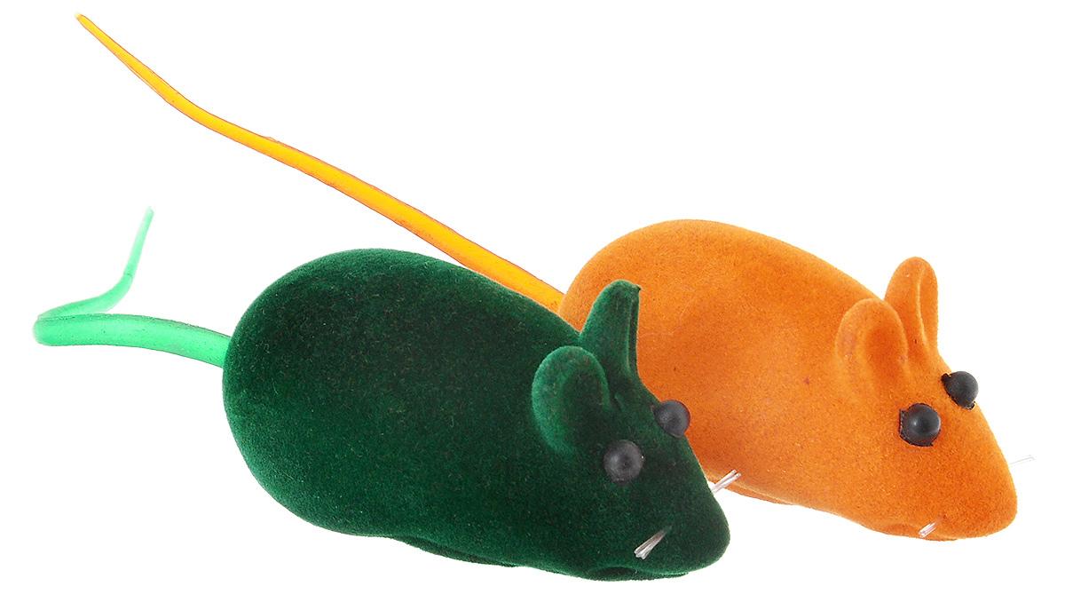 Игрушка для животных Zoobaloo Набор бархатная мышь с пищалкой, цвет: оранжевый, зеленый, 2 шт2091_оранжевый/зеленыйПарочка мышей, бархатные шкурки и интересное сочетание цветов! Никакой политики – только радость для всего кошачьего семейства! Их озорные хвостики не оставят равнодушной вашу кошку!