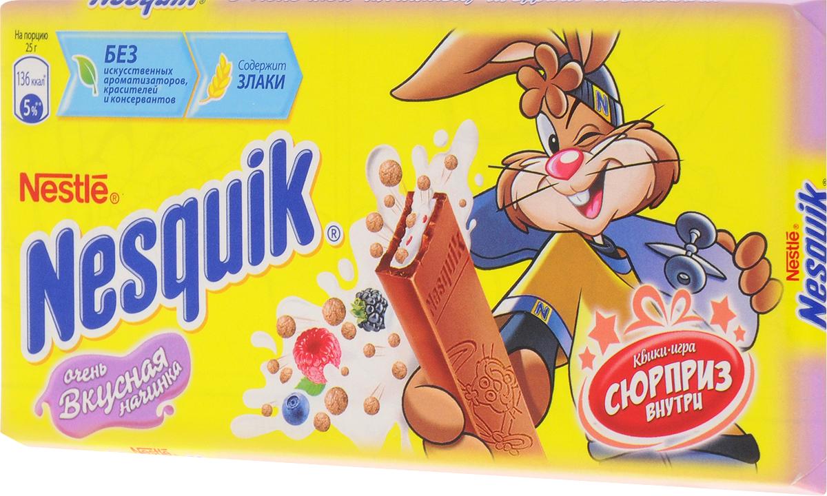 Nesquik молочный шоколад с молочной начинкой ягодами и злаками, 100 г 12242007