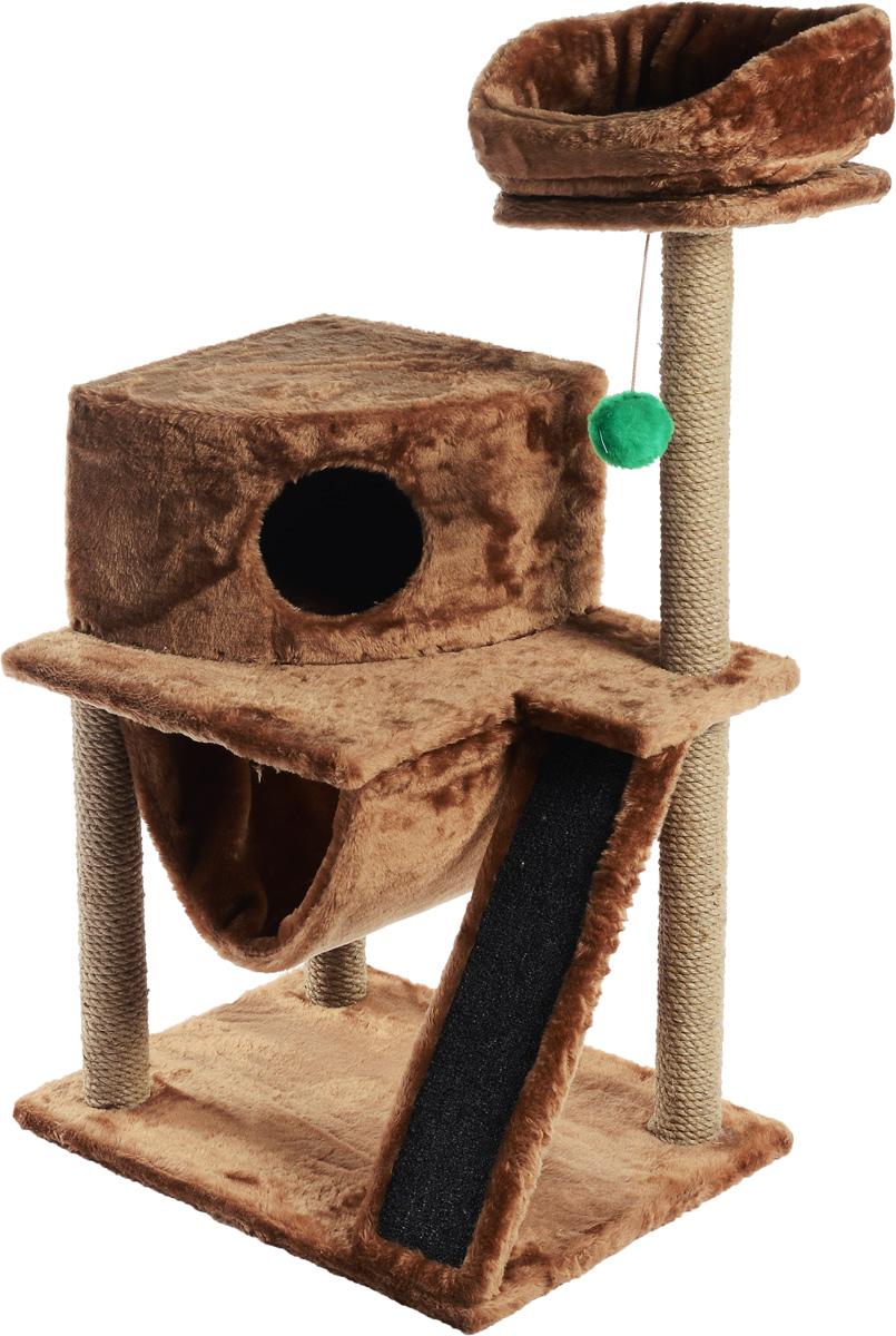 Игровой комплекс для кошек ЗооМарк Мурка, цвет: светло-коричневый, бежевый, 60 х 45 х 120 см125_светло-коричневыйИгровой комплекс для кошек ЗооМарк Мурка выполнен из высококачественного дерева и обтянут искусственным мехом. Изделие предназначено для кошек. Комплекс имеет 3 яруса. Ваш домашний питомец будет с удовольствием точить когти о специальные столбики, изготовленные из джута. Также точить когти поможет площадка, оснащенная вставкой из ковролина. А отдохнуть он сможет либо на полках, либо домике или гамаке. На одной из полок расположена игрушка, которая еще сильнее привлечет внимание питомца. Общий размер: 60 х 45 х 120 см. Размер домика: 37 х 37 х 25 см. Диаметр верхней полки: 30 см. Уважаемые покупатели! Обращаем ваше внимание на тот факт, что размеры могут незначительно отличаться в пределах 3-4 см в высоту и ширину.