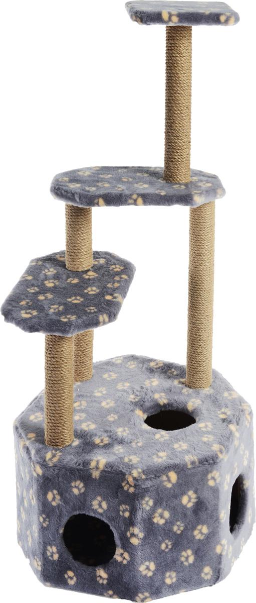 Домик-когтеточка Меридиан Высотка, 4-ярусный, цвет: серо-синий, бежевый, 51 х 51 х 123 смД240Ла_серо-синий, бежевый лапкиДомик-когтеточка Меридиан Высотка выполнен из высококачественного ДВП и ДСП и обтянут искусственным мехом. Изделие предназначено для кошек. Комплекс имеет 4 яруса. Ваш домашний питомец будет с удовольствием точить когти о специальные столбики, изготовленные из джута. А отдохнуть он сможет либо на полках, либо в расположенном внизу домике. Домик-когтеточка Меридиан Высотка принесет пользу не только вашему питомцу, но и вам, так как он сохранит мебель от когтей и шерсти. Общий размер: 51 х 51 х 123 см. Размер домика: 51 х 51 х 32 см.
