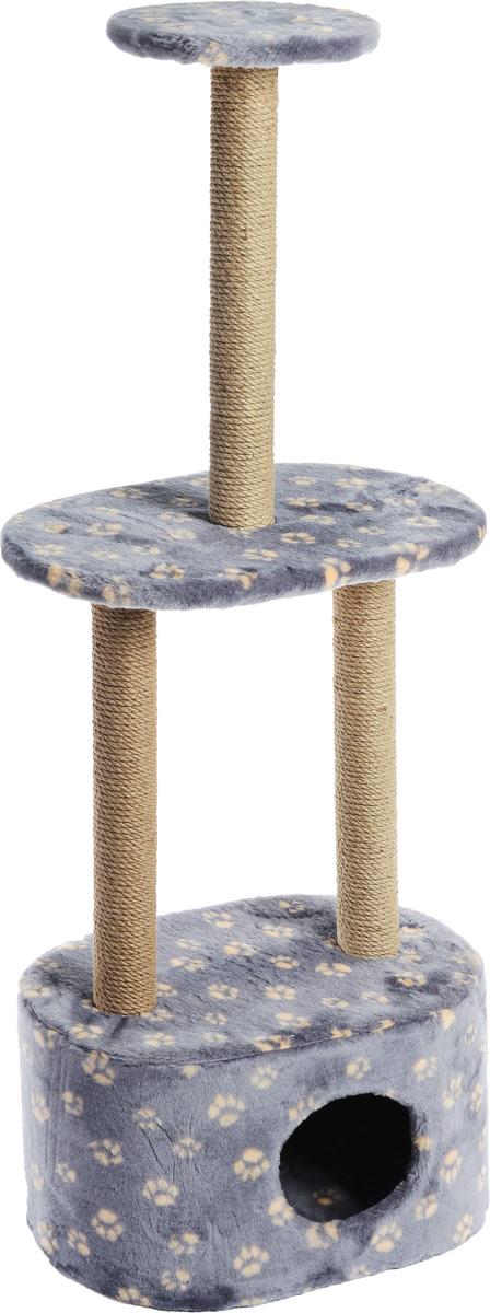 Игровой комплекс для кошек Меридиан, 3-ярусный, с домиком и когтеточкой, цвет: серо-синий, бежевый, 51 х 33 х 131 смД516 Ла_серо-синий, бежевый лапкиИгровой комплекс для кошек Меридиан выполнен из высококачественного ДВП и ДСП и обтянут искусственным мехом. Изделие предназначено для кошек. Комплекс имеет 3 яруса. Ваш домашний питомец будет с удовольствием точить когти о специальные столбики, изготовленные из джута. А отдохнуть он сможет либо на полках, либо в расположенном внизу домике. Общий размер: 51 х 33 х 131 см. Размер домика: 51 х 33 х 28 см. Размер большой полки: 51 х 33 см. Диаметр малой полки: 25 см.