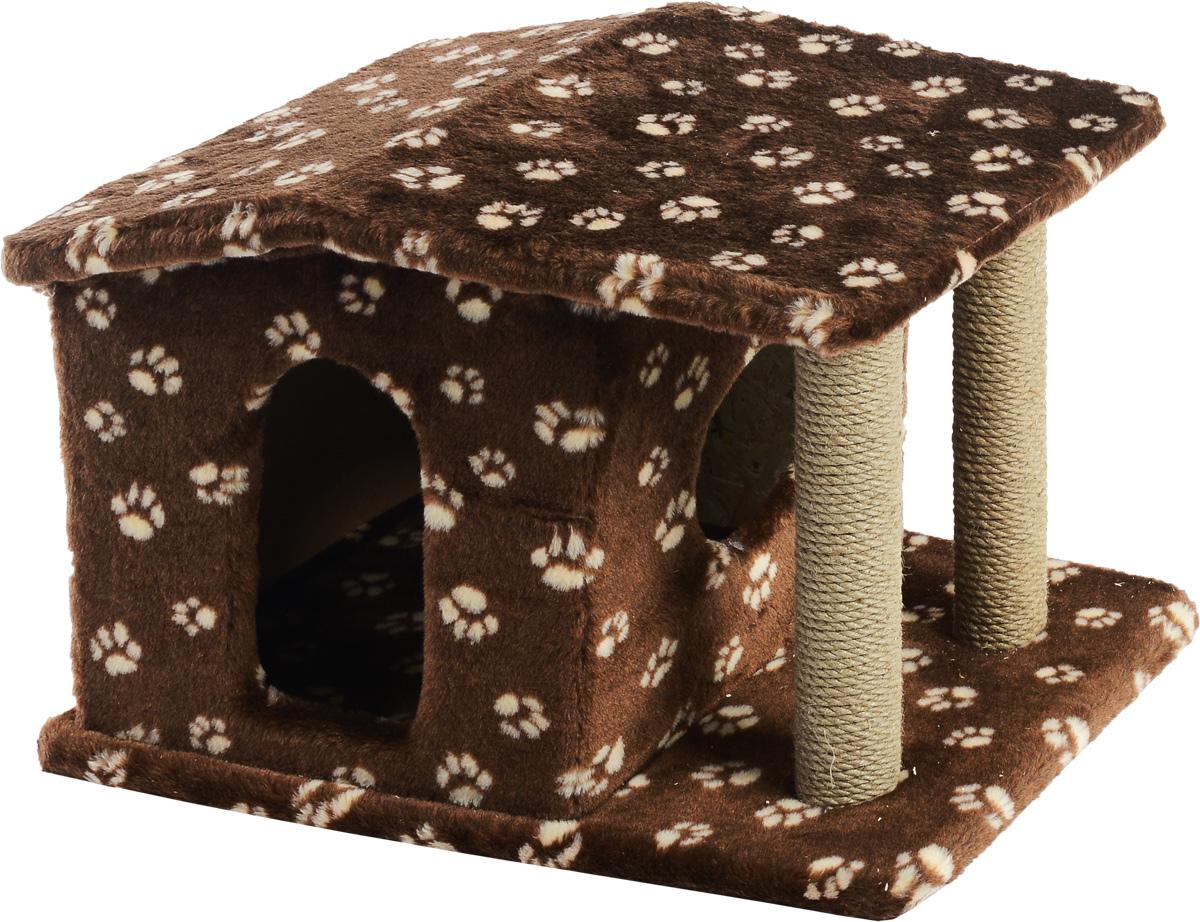 Игровой комплекс для кошек Меридиан Патриция, с домиком и когтеточкой, цвет: стемно-коричневый, бежевый , 63 х 40 х 41 смД376 Ла_темно-коричневый, бежевый лапкиИгровой комплекс для кошек Меридиан Патриция выполнен из высококачественного ДВП и ДСП и обтянут искусственным мехом. Изделие предназначено для кошек. Ваш домашний питомец будет с удовольствием точить когти о специальные столбики, изготовленные из джута. А отдохнуть он сможет в оригинальном домике.