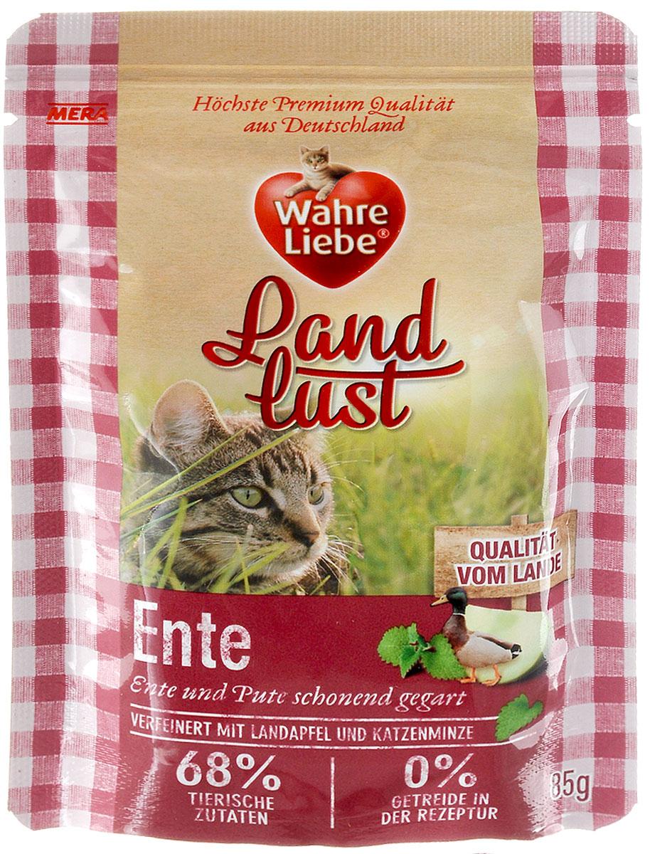 Консервы для кошек Wahre Liebe Nassfutter, с уткой и индейкой в желе с яблоком и с добавлением кошачьей мяты, 85 г33101Консервы для кошек Wahre Liebe Nassfutter - сбалансированный влажный корм для кошек склонных к аллергии, в период диеты а также с чувствительным пищеварением. Корм изготовлен только из свежих натуральных ингредиентов. Подходит для самых привередливых кошек. Содержание свежего мяса в каждом пакетике - не менее 68%! Состав: утка 34% (содержит сердце утки, утиную печень и утиную шею), индейка ( 34%, содержит сердце индейки, мясо и печень индейки), бульон из утки и индейки, яблоко 2%, минеральные вещества, кошачья мята 0,1%, льняное масло. Товар сертифицирован.