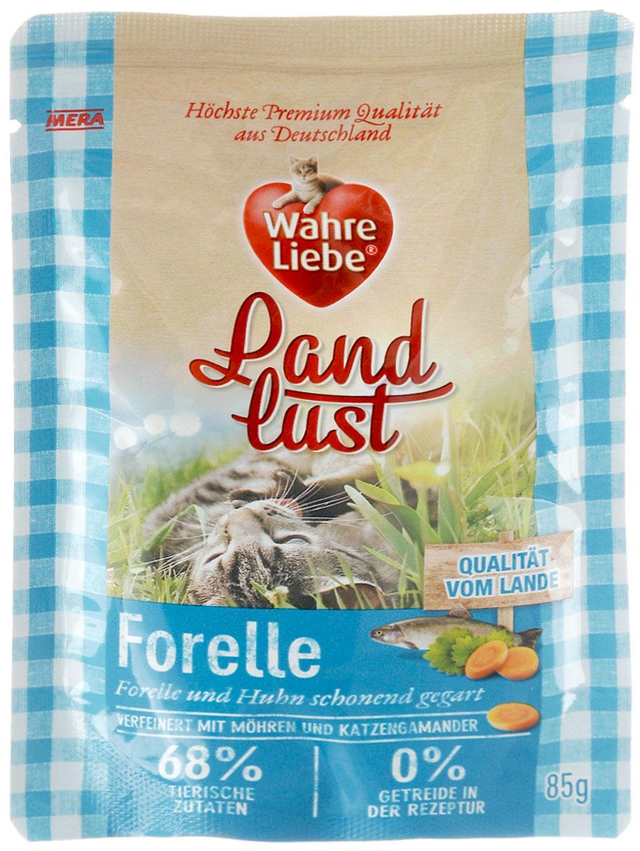 Консервы для кошек Wahre Liebe Nassfutter, с форелью и курицей в желе с морковью и с добавлением кошачьего дубровника, 85 г33201Консервы для кошек Wahre Liebe Nassfutter - сбалансированный влажный корм для кошек склонных к аллергии, в период диеты, а также с чувствительным пищеварением. Корм изготовлен только из свежих натуральных ингредиентов. Подходит для самых привередливых кошек. Содержание свежего мяса в каждом пакетике - не менее 68%! Состав: курица (48%, содержит куриные сердечки, куриное мясо, печень, желудочки и шеи), куриный бульон, форель 20%, морковь 2%, минеральные вещества, кошачий дубровник 0,1%, льняное масло. Товар сертифицирован.